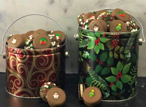 Christmas cookies in holiday tins