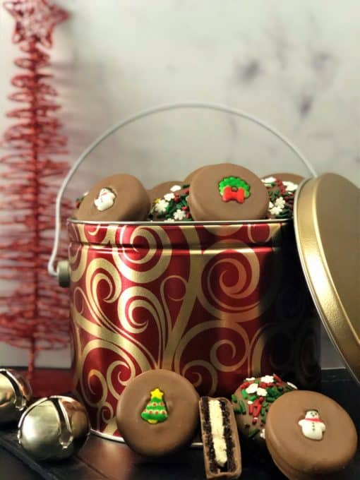 Holiday cookies in red gold holiday tin