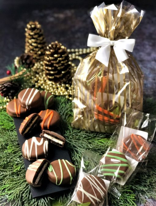 assorted cookies in cellophane bag and bow