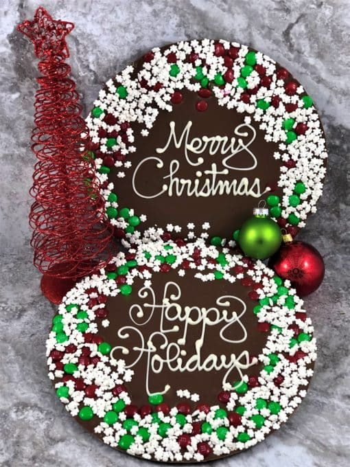 happy holidays merry Christmas chocolate pizzas