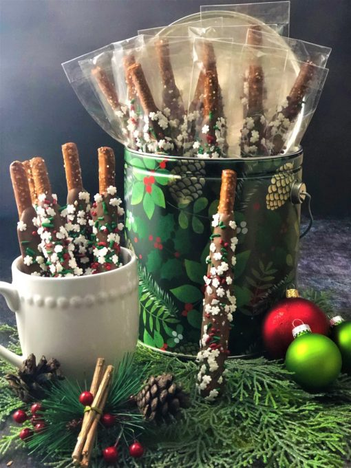 holiday office gift 20 pretzel rods in tin