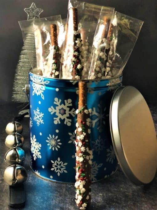 pretzel rods in blue tin