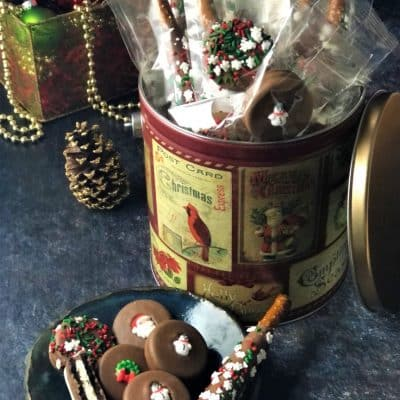 holiday party tin with pretzels and cookies