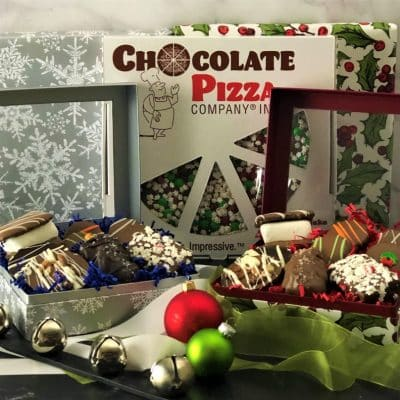 winter treasures gift box and chocolate pizza
