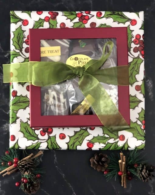 winter treasures chocolate pizza and gift box