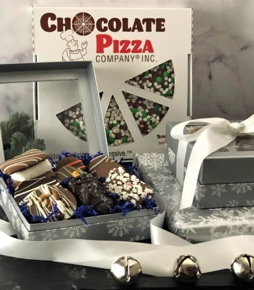 silver winter treasures gift box and chocolate pizza