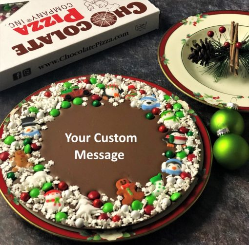 custom holiday chocolate winter wishes pizza