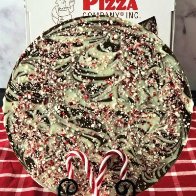 candy cane chocolate pizza