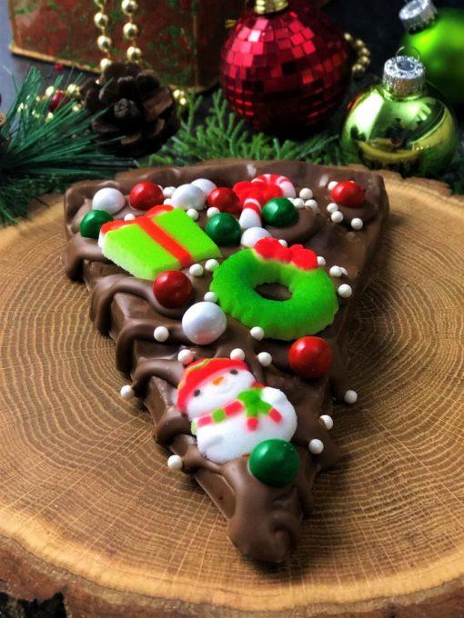 Christmas cheer Chocolate Pizza slice