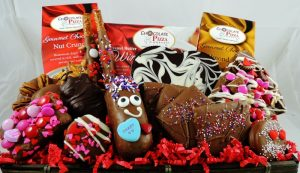 gift basket filled with chocolate treats for valentines