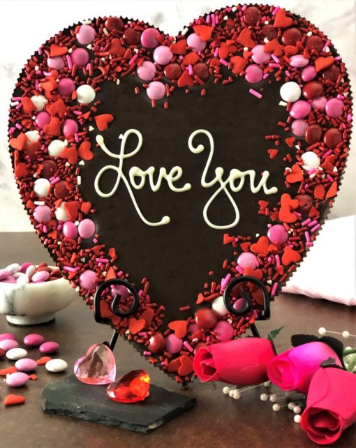heart shaped milk chocolate pizza says love you