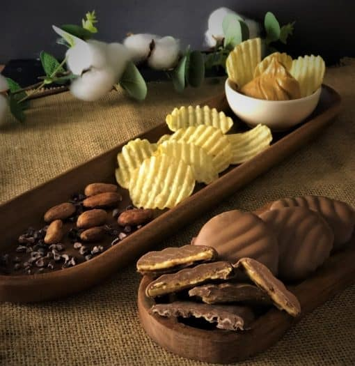 on display potato chips peanut butter cocoa beans