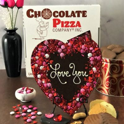 dark chocolate heart shaped chocolate pizza says love you
