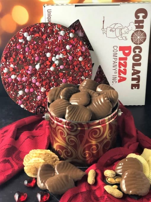 red metal tin holds 16 oz peanut butter wings plus a crazy for you chocolate pizza combo