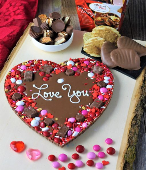 heart shaped Chocolate Pizza says love you with PB wings