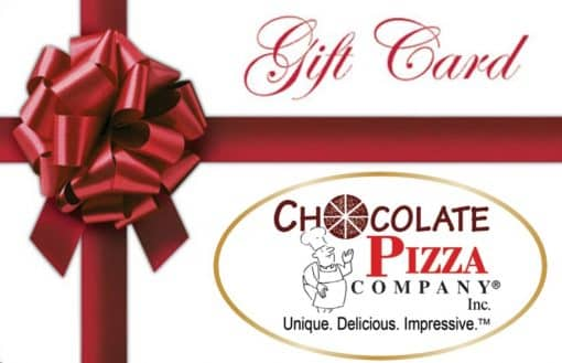 picture of a gift card with the Chocolate Pizza Company logo