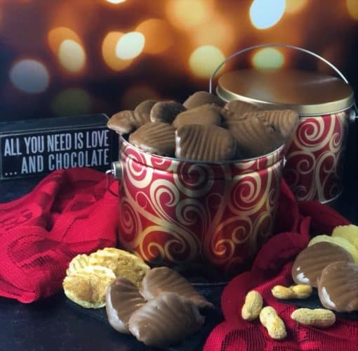 chocolate peanut butter wings in red metal tin