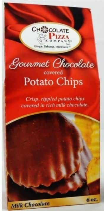 tall 6 ounce box of chocolate covered potato chips