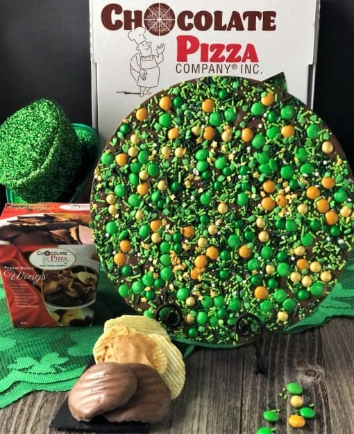 lucky for you chocolate pizza covered in green gold chocolate candies plus peanut butter wings