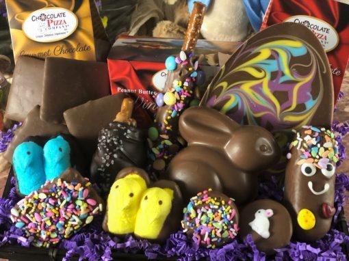 close up of chocolate treats, bunny, egg, peeps