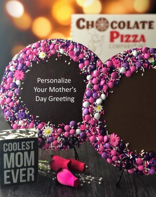 personalized Mother's Day gift chocolate pizza in milk or dark chocolate