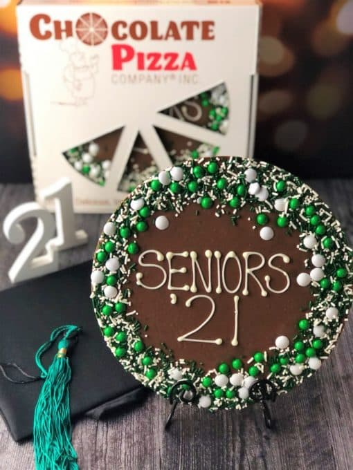 graduation gift seniors 21 chocolate pizza with green white decorations