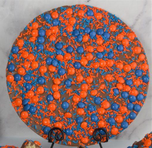 Go Orange Chocolate Pizza with orange blue candies