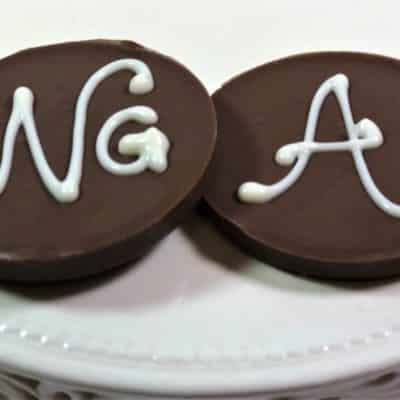 monogram mini Chocolate Pizzas wedding favors