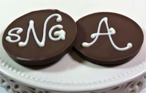 monogram mini Chocolate Pizzas wedding favors