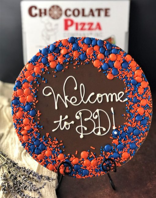 say it on chocolate custom chocolate pizza says welcome to bd