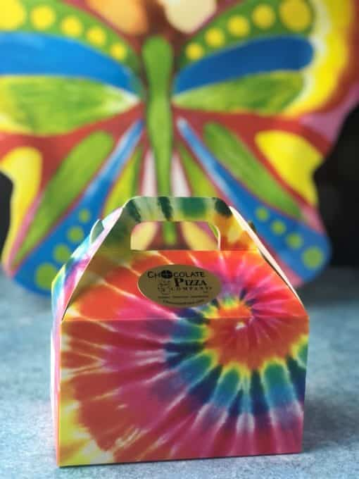 tie dye colored tote box