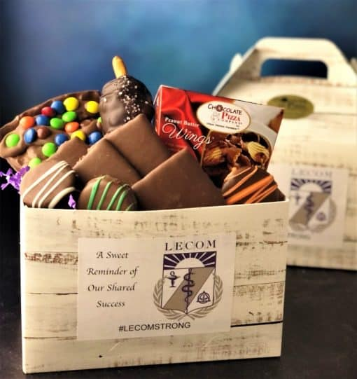 LECOM tote filled with chocolate specialties