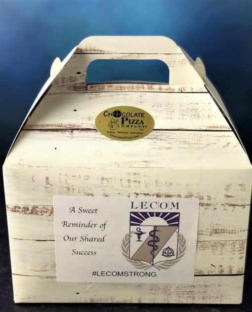 beige tote box with LECOM logo on the side