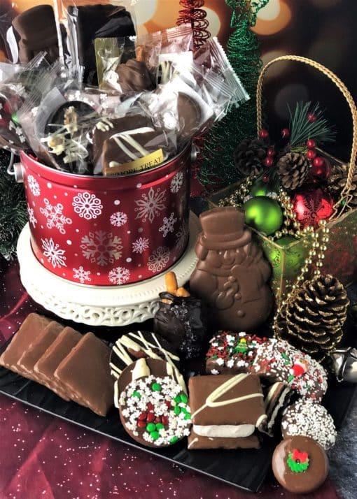 12 days of Christmas tin with a dozen gourmet chocolate treats