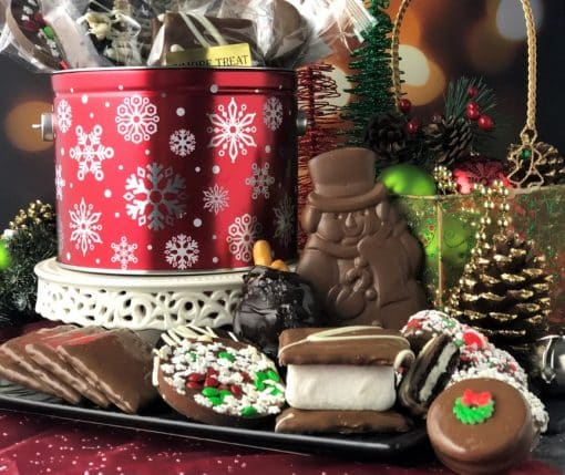 12 days of Christmas tin holds gourmet chocolate treats