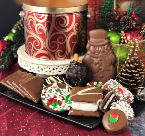 red gold holiday tin with 12 days of Christmas chocolate treats