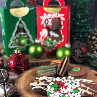 stocking stuffer chocolate treats in a window tote box